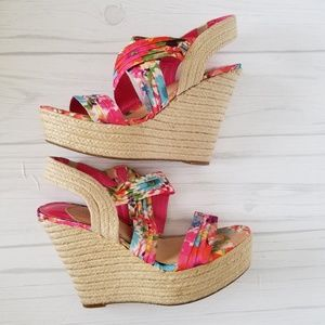 Shoes - Gianni Bini Floral Espadrilles Wedges